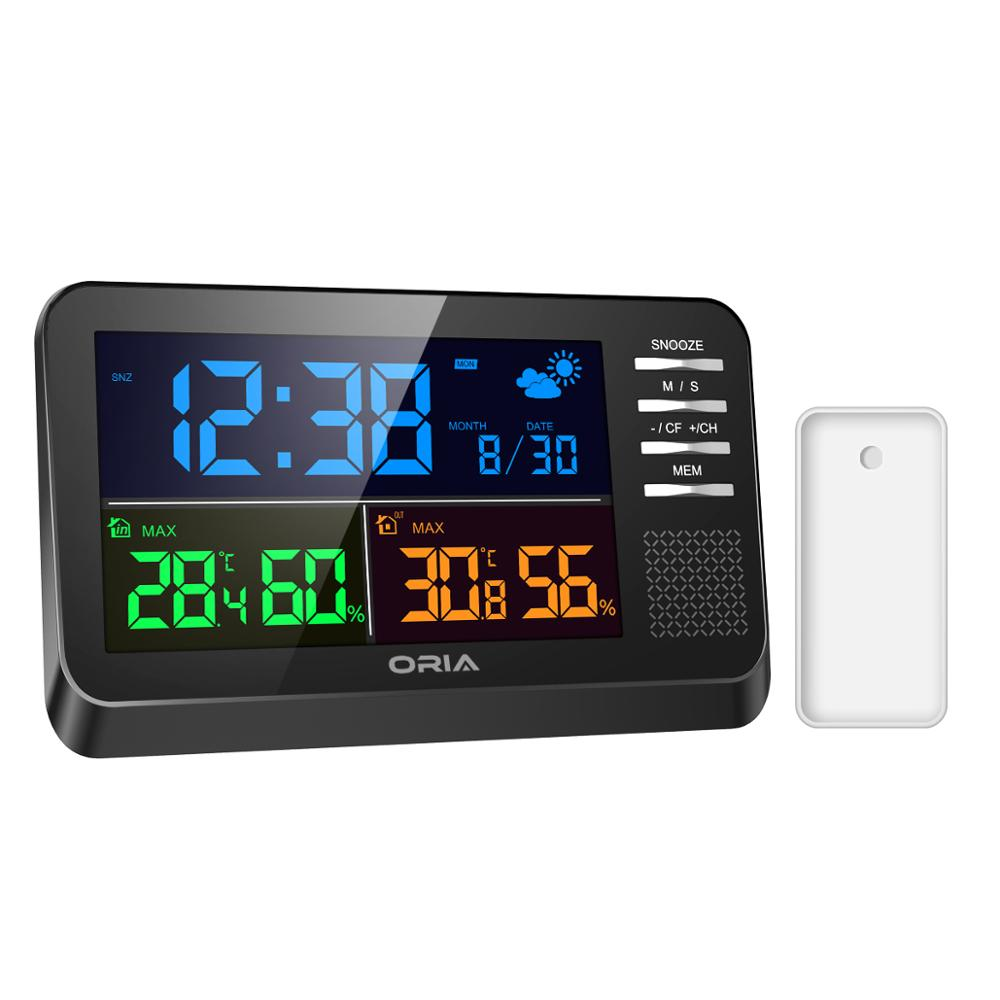 €19.18 30% OFF ORIA Wireless Weather Station Digital Color Forecast Station Alarm Clock Temperature and Humidity Monitor Indoor  Outdoor Temperature Gauges     - AliExpress