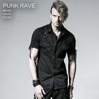 New Punk Rave Goth Rock Fashion Visual Kei Heavey Metal Black Men Top Shirt Y530 L