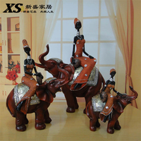 New Creative Gift Resin Ornaments Vintage Artificial Resin Crafts Figurine Home Decor Elephant Woman Statue African