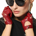 Fashion Real Leather Gloves Female Motrobike Driving Genuine Goatskin Glove High Quality Black Red Hot Trendy EL041N