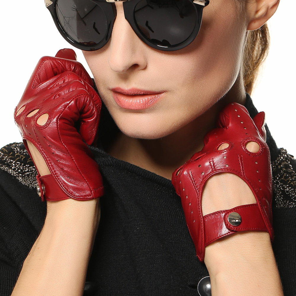 Black leather gloves female - Fashion Real Leather Gloves Female Motrobike Driving Genuine Goatskin Glove High Quality Black Red Hot Trendy