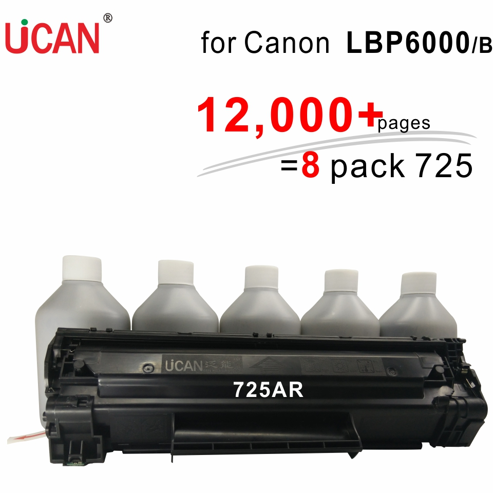 UCAN CTSC(kit) Cartridge 725 for Canon LBP 6000 6000B LBP6000 12,000 pages equivalent to 8-Pack CRG 725 Toner Cartridges цена и фото