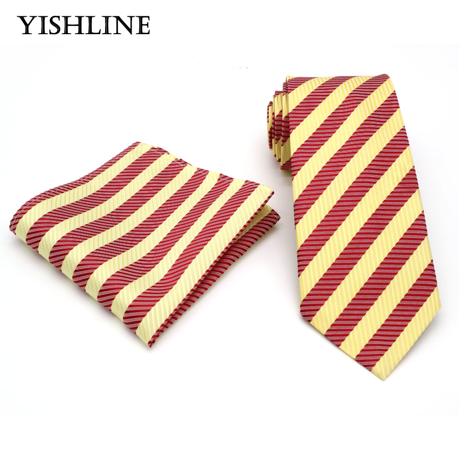 T194 Mens Ties 8CM Yellow Red Striped Tie Hanky Set Mens Business Wedding Party Jacquard Woven 100% Silk Necktie Handkerchief
