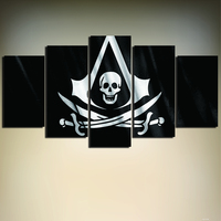 Unframed 5 Piece Wall Art Picture Painting On Canvas Skull Head Pirate Flag Poster Print For