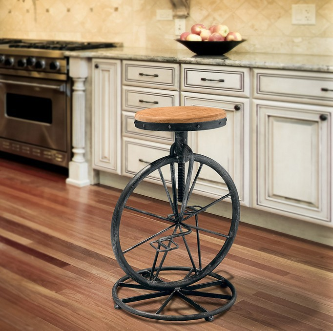 LOFT Industrial Unique Metal Frame Bike Stool Wood Round Top Antique Dining Chairs European Design Leisure Bar Stool