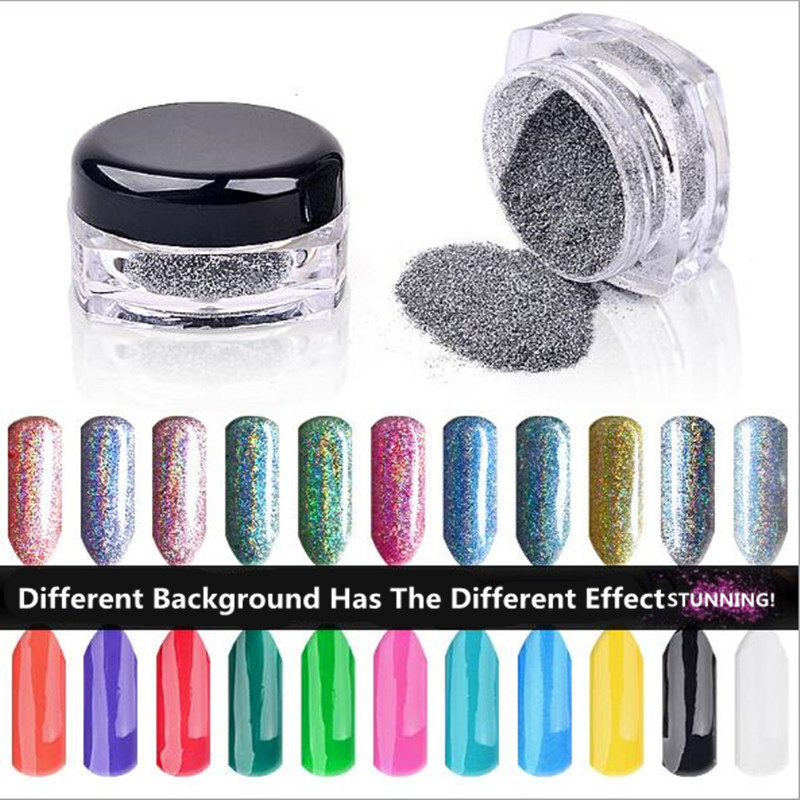 Chrome Nail Powder Gel: Aliexpress.com : Buy 6 Colors Laser Powder Nail Polish Gel