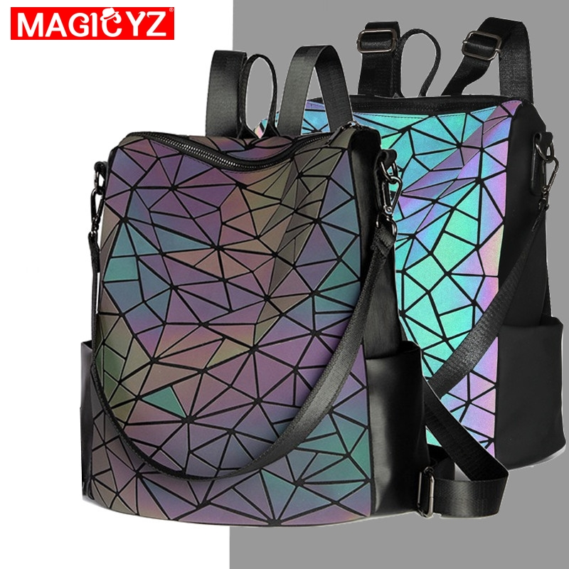 Luminous Large Women Backpack Female Plaid Sequin Backpack Design School Backpack For Teenage Girls Holographic Laser Backpack
