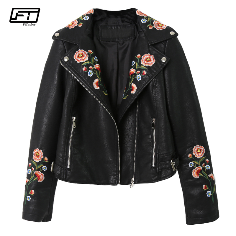 Fitaylor Women Pu Leather Jacket Floral Print Embroidery Motorcycle Turn down Collar Short Punk Retro Faux