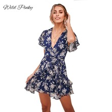 WildPinky V-Neck Beach Floral Print Ruffles Mini Casual Dress Women Summer Flying Sleeve Sundress Chiffon Bow Tie Sashes