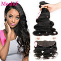 Mealid Brazilian Body Wave With Frontal Closure Ear To Ear Lace Frontal Closure With 4 Bundles Brazilian Body Wave With Closure