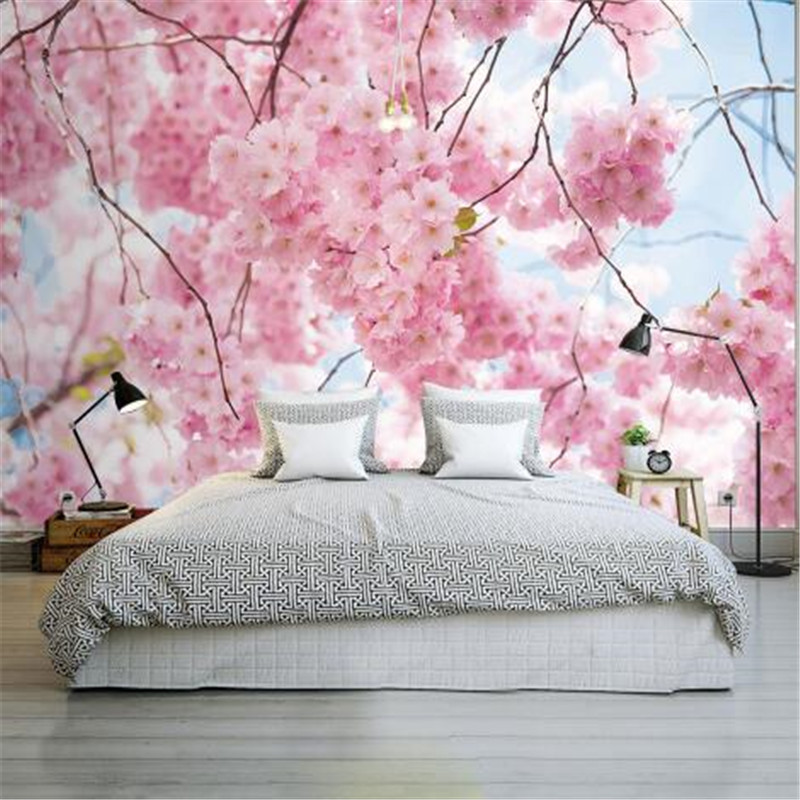 Cherry Blossoms Photo Wallpapers Romantic 3D Murals Pink Flowers Wallpapers for Walls Murals Wall Papers Home Decor Living Room diy miniature pink cherry blossoms