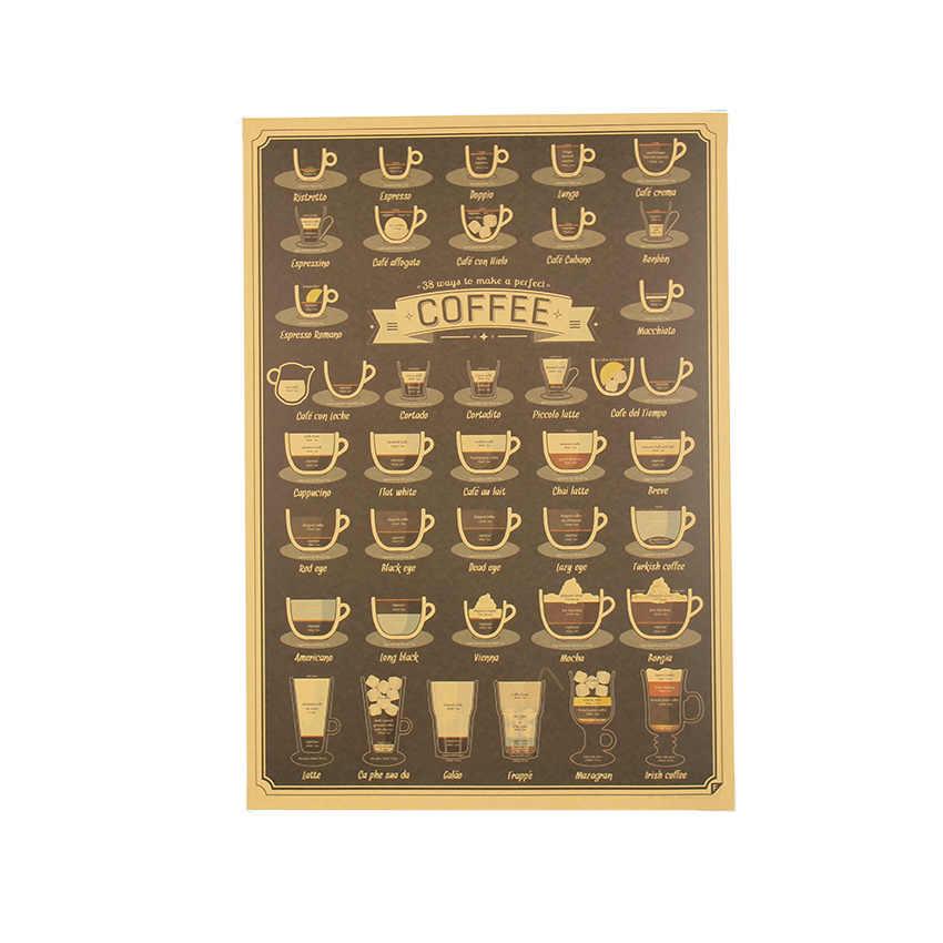 التعادل لير فنجان القهوة Daquan الحانات المطبخ الرسم المشارك الزينة خمر ملصق ريترو الجدار ملصق 51.5X36cm