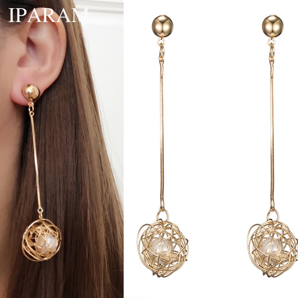 IPARAM Fashionable Earrings Long Pendant Hollow Gold Ball Emulation Pearl Earrings Women's Personality Exaggerated Earrings(China)