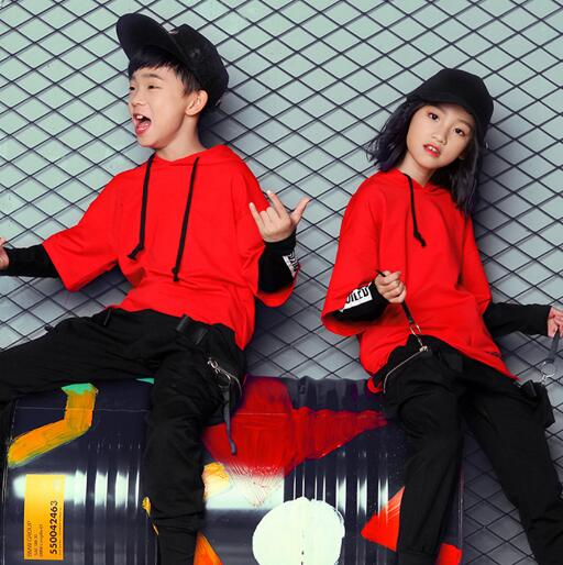 Children Hip Hop Costumes Dance Wear Girls Boys Loose Hoodie Sweatshirt & Pants 2 Pcs Sets Kids Dancing Clothing Clothes