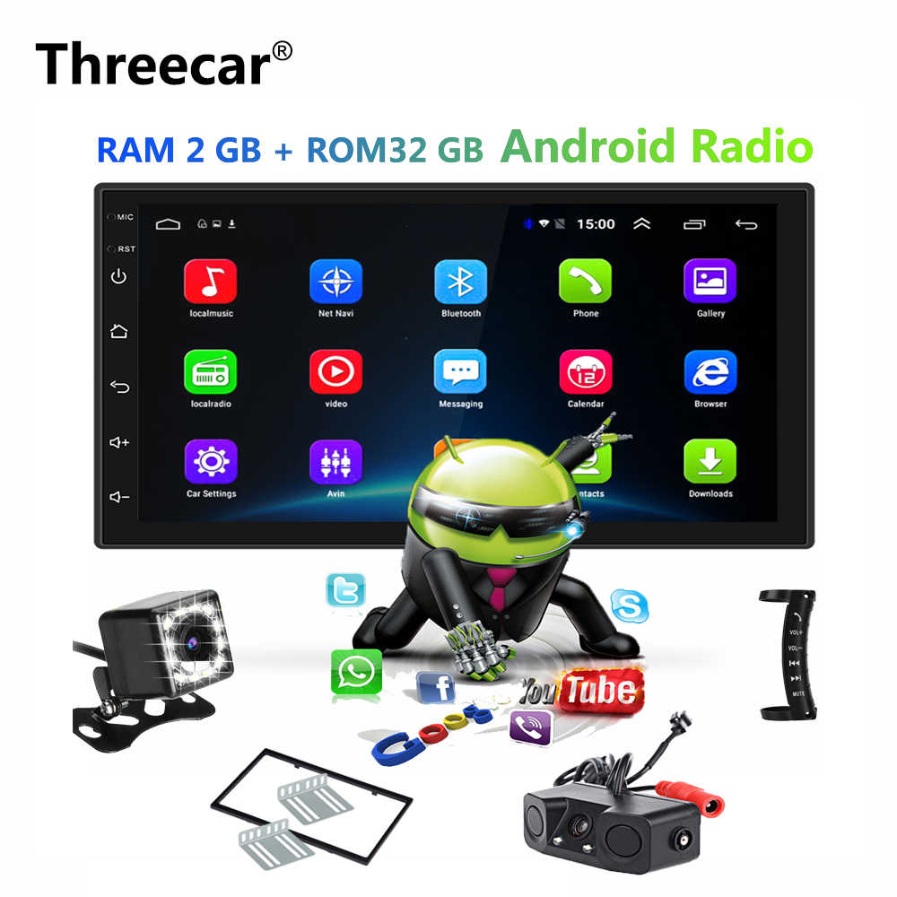 "2 Din Car Radio 7 ""Android 6,0 Universal navegación GPS Bluetooth 2G RAM + 32G ROM Wifi reproductor MP5 Multimedia para coche Audio estéreo"