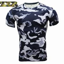 Купить с кэшбэком New Quick Dry Tank Man's Camouflage T-shirt Gym Fitness Tights Top Soccer Jerseys Running T Shirt Demix Men's Sportswear Male