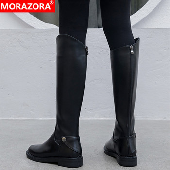 MORAZORA 2020 Newest genuine leather boots women knee high boots round toe zip rivet Motorcycle Boots woman autumn winter boots