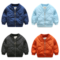 Hot Sale 2018 Fall Winter Boys Wadded Jacket Children Standing Collar Solid Cotton Padded Coat Baby Kids Clothes Outerwear X164