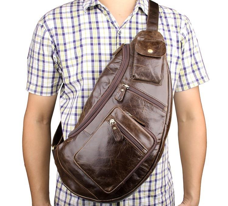 New Arrival Genuine Leather Chest Packs Bag Travel Riding Motorcycle Shoulder Bags Men Messenger Sling Bag