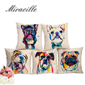 """Miracille Square 18"""" French Bulldog Printed Decorative Sofa Throw Cushion Pillows Pets Dogs Outdoor Living Room Decor"""