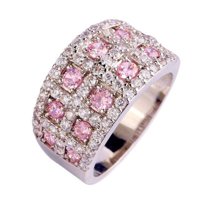 Factory direct selling Free Shipping Fashion gems Resplendent pink topaz 925 Silver Ring Size 10 Jewelry for unisex wholesale