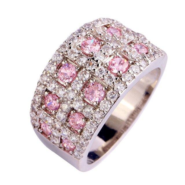 Jóias venda direta resplandecente rosa topaz 925 anel de prata tamanho 10 jóias para unisex