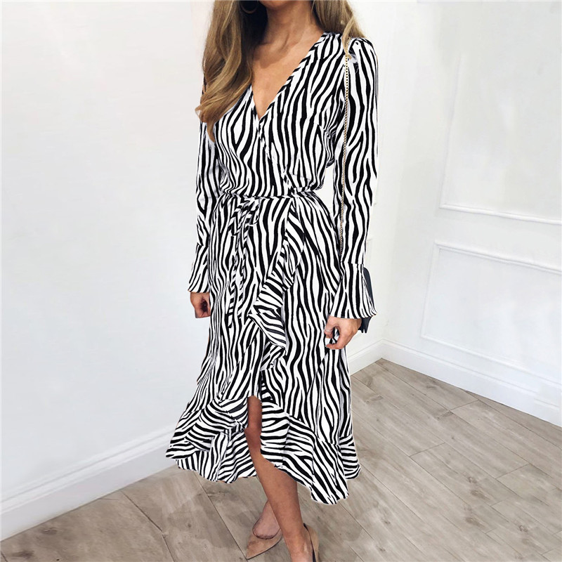 Summer Long Dresses 2019 Women Zebra Print Beach Chiffon Dress Casual Long Sleeve V Neck Ruffles Elegant Party Dress Vestidos 3