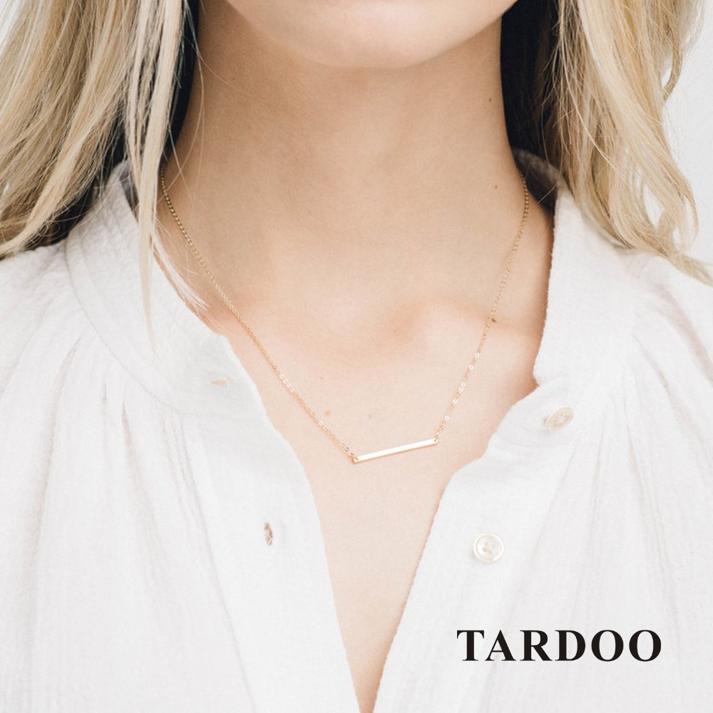 Tardoo Stick Gold Chain Necklace 925 Silver Simple Stick Pendant Necklace For Women Long Link Chain Gold Choker Fine Jewelry tardoo crossed double circle necklace 925 silver simple double circle gold necklace women fine jewelry hoop pendant necklace