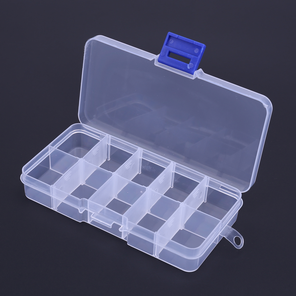Waterproof 10 Compartments Outdoor Fishing Lure Hook Storage Box Case Portable Non-Toxic Transparent Plastic Fishing Tackle Box Крючок