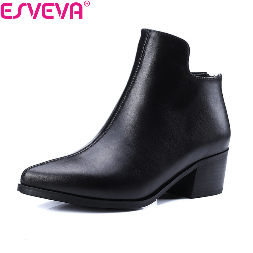 ESVEVA 2018 Women Boots PU+Real Leather Zipper Ankle Boots Square High Heel Pointed Toe Autumn western motorcycle Boot Size 39 vinlle women boot square low heel pu leather rivets zipper solid ankle boots western style round lady motorcycle boot size 34 43