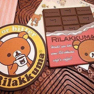 Free Shipping 2pcs/lot New Quality Silicone Cute Rilakkuma/SAN-X/Relax Bear Coffee Coaster/Cup Mat Wholesale