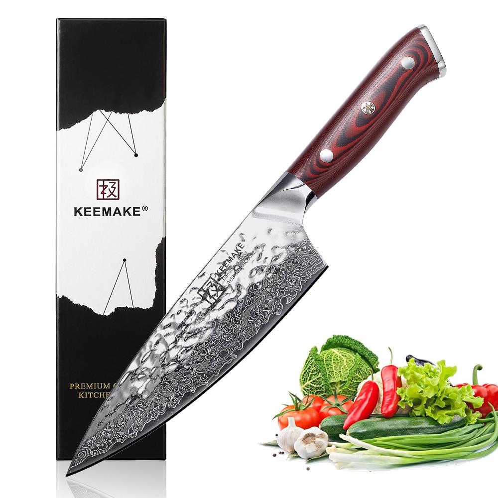 """KEEMAKE 6,5 """"pulgadas cuchillo de Chef cuchillos de cocina japonés Damasco AUS 10 hoja de afeitar de acero afilada 60HRC herramienta de cortador de Chef g10 manejar-in Cuchillos de cocina from Hogar y Mascotas    1"""