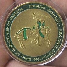 40 мм зеленый позолоченный заказ Рыцари Тамплиер сувенирная монета медаль