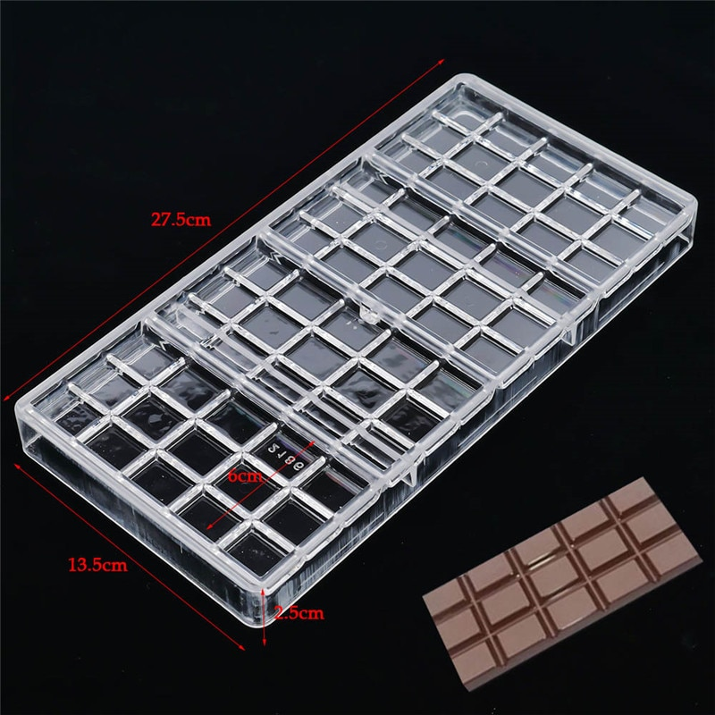 Real Polycarbonate Chocolate Bar Mold Eco friendly Plastic Baking Pastry Mould Cozinha Kitchen Pastry Tools|Cake Molds|   -