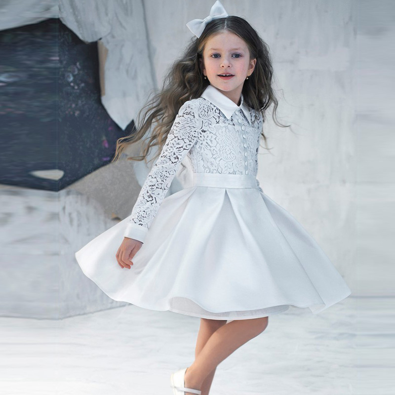 Vestidos De Comunion 2019 Lace Kids Evening Gowns Cheap   Flower     Girl     Dresses   For Weddings Princess Pretty Little   Girl   Prom   Dress