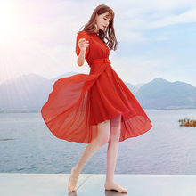AcFirst Summer Lanon Women Dresses Red Chiffon A-Line Dress Evening Party Lady Holiday Sexy Sweet Knee-Length