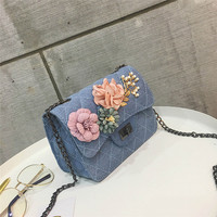 Super Quality Women Canvas Applique Floral Handbag Phone Shoulder Bag Tote Messenger Photography Bag X Dropship