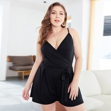 WHZHM Summer Plus Size 3XL 4XL Loose Pants Bodysuit Female Playsuits Sleeveless Deep V-Neck Sashes Black Women Bodysuits XR041(China)