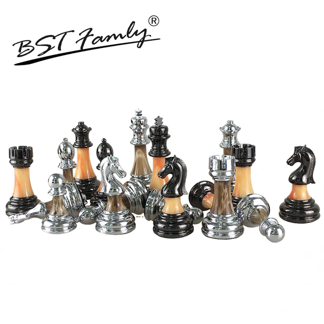 US $8 13 40% OFF|BSTFAMLY Chess Set ABS Plastic Plating Process and Metal  Aggravation Chess Pieces Chessman King Height 90mm Chess Game IA2-in Chess
