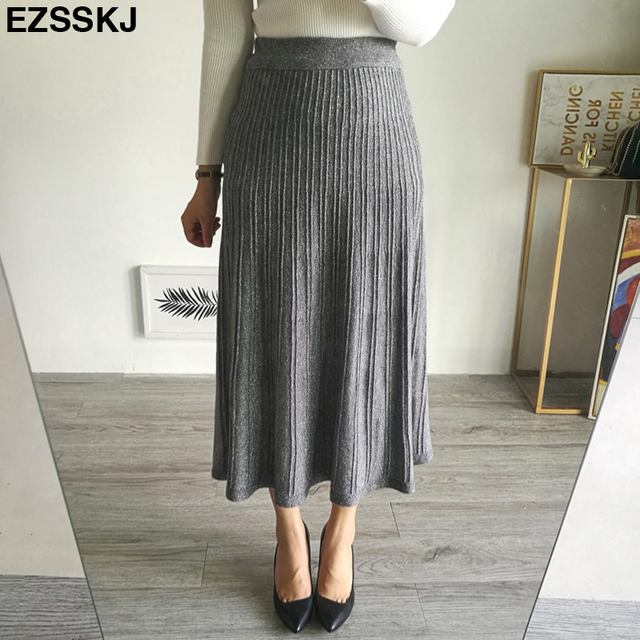 6121a7382 2018 elegant Autumn winter glitter knit Skirts women bling sweater Skirts  A-line long Skirt lady vintage shiny pleated skirt new