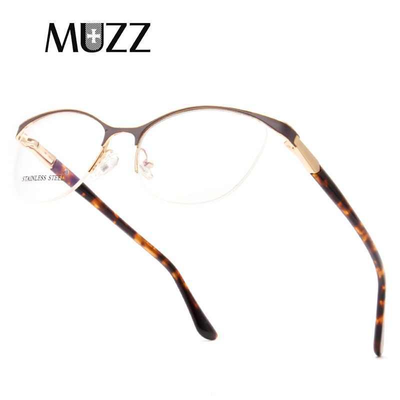 e4759f58198 MUZZ Cat Eye Style Women Optical Glasses Frames Metal Glasses Frame Women Prescription  Eyewear Clear Myopia