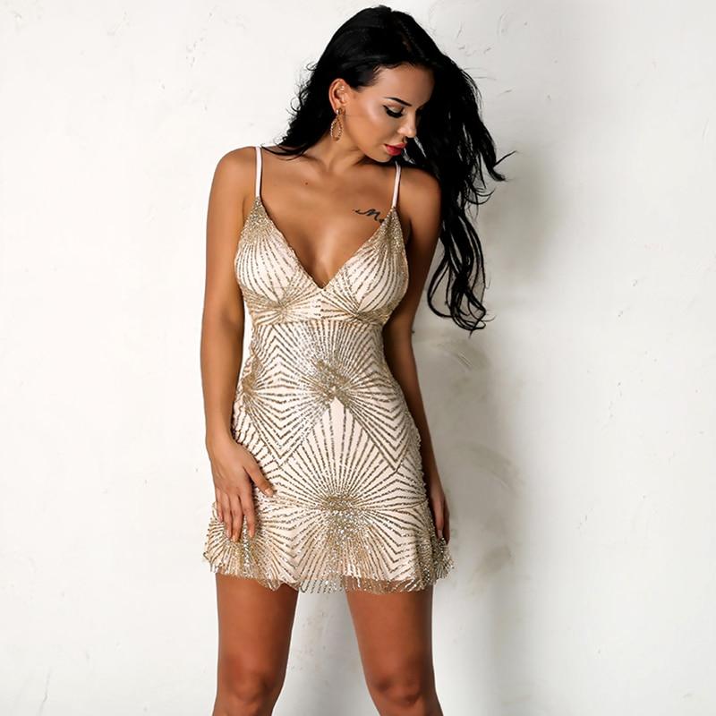 Sequin V Neck Bodycon Dress