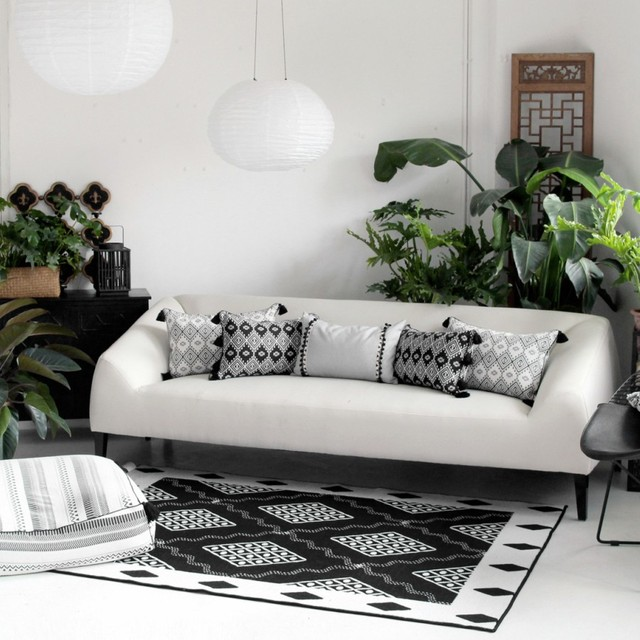 High Quality Chinese Style Carpet Black And White Space Art Pad Fashion Bedroom Living Room Rug