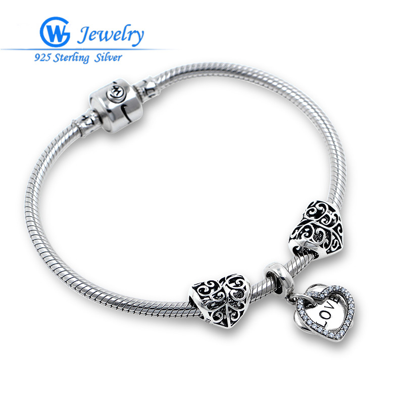 GW Brand Love Forever Finished Bracelets 925 Solid Sterling Silver Fits Love and Wish Bracelet For Women Jewelry BRS177 luxury brand love bracelets