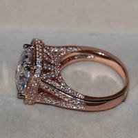 Luxury 192 Pcs Tiny Sapphire Women Fashion Jewelry Princess 925 Silver Simulated Diamond Rose Gold