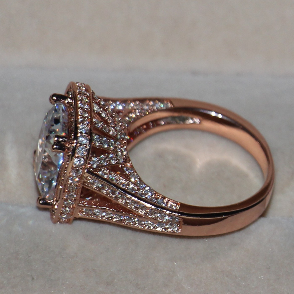 925 Silver Rose Gold Princess Wedding Ring Gift 192 AAA CZ Pcs