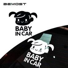 Bemost 5 pçs/lote acessórios de automóvel adorável vinil dos desenhos animados gril bebê em sinal de aviso de segurança do carro decalque do carro-estilo 11*13 cm