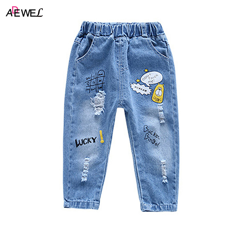 ADEWEL 2018 New Cartoon Pattern Children Jean Loose Casual Kids Jeans for Boys Girls Spring Autumn Style Toddlers Pants spring autumn new cool jeans boys children baby old pants denim pants tide 2 7 ages free shipping loose straight casual solid