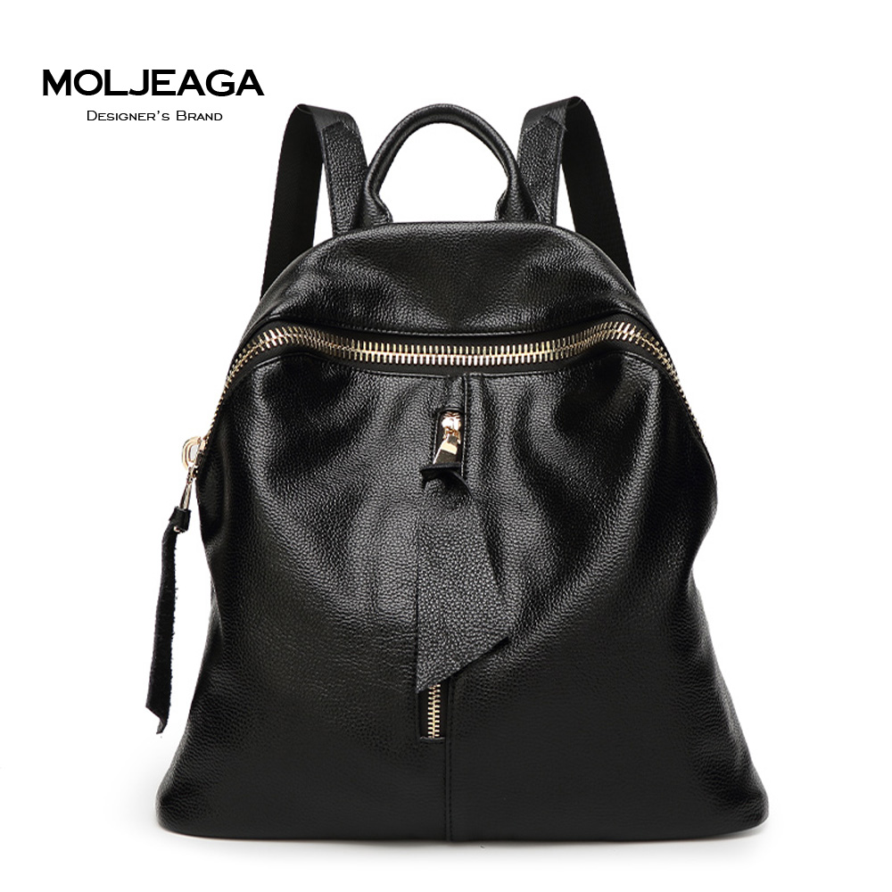 MOLJEAGA 100 Real Soft Genuine Leather Women Backpack Woman Korean Style Ladies Strap Laptop Bag Daily