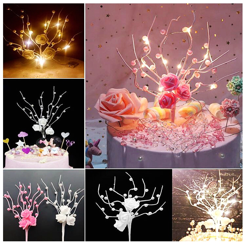 NEW Pearl Rose Flower Lucky Wish Tree Cake Topper Picks For Wedding Children's Birthday Party Candy Bar Decoration Baby Baptism